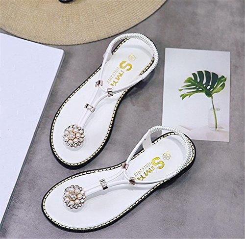 Cybling Vrouwen Platte Sandalen Fashion Bohemian Kralen Strand T-strap Slingback Thong Schoenen Zwart Groen Wit Wit