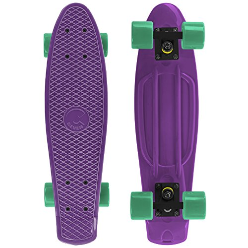 Cal 7 Mini Cruiser Skateboard Complete 22 Inch Standard Style Plastic Board Style (White/black/black)