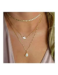 YOMYM 3 Layered Necklaces Disc Sequins Chain Pigeon Water Droplets Pendants Multi-layered Necklace for Women and Girls