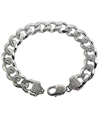 Brilliant Men's NICKEL FREE! Sterling-silver 11MM Italian Made Curb Link Bracelet