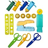 Strokes Art Durable Clay and Dough Tools 15 Piece Set Extruder Factory Shapes With Scissors - Create Hours Of Creativity - Ages 3 & Up - Includes Handy Storage Bag