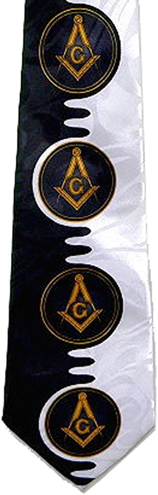 Tie for Free Mason Member - Black and White Polyester Long tie with Unique Masonry Pattern Design - Compass and Square Masonic Apparel