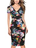 oxiuly Women's Casual V Neck Short Sleeve Work Stretchy Bodycon Pencil Summer Dress OX286 (Black Rose, XXL)