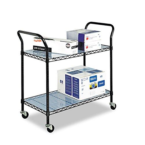 Safco 5337BL Wire Utility Cart Two-Shelf 43-3/4w x 19-1/4d x 40-1/2h Black (Utility 2 Shelf Safco Cart)
