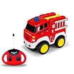 Remote Control Truck, Cartoon RC Fire Truck with Sounds, Remote Construction Vehicle Toy for Kids and Toddlers