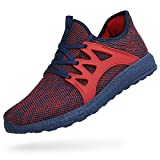 Feetmat Men's Sneakers Lightweight Breathable Mesh Gym Casual Shoes Red Blue 10.5 D(M) US