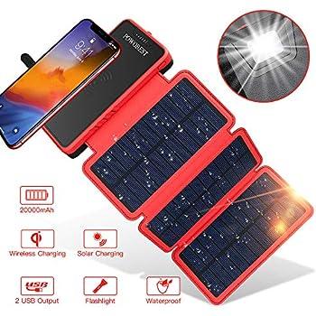 Solar Power Bank Qi Wireless Solar Charger 20000mAh,POWOBEST Portable External Battery with 3 Foldable Solar Panels,Flashlight,TypeC Dual 5V/2.1A USB ...