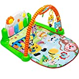 Tapiona Baby Play Gym Mat - Kick And Play Piano Mat For Infants - Activity Mat For Boy And Girl 0-36 Month - 2 Modes Kick Piano, Mirror, 4 Rattle Toys