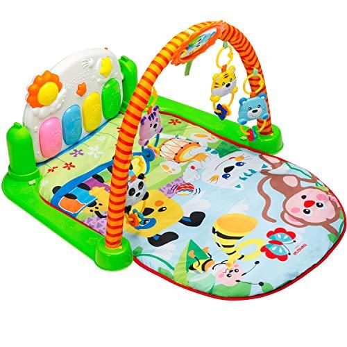 (Tapiona Baby Play Gym Mat - Kick Play Piano Mat Infants - Activity Mat Boy Girl 0-36 Month - 2 Modes Kick Piano, Mirror, 4 Rattle Toys)