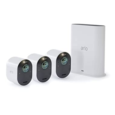 Arlo Ultra - 4K UHD Wire-Free Security 3 Camera System   Indoor/Outdoor Security Cameras with Color Night Vision, 180° View, 2-way Audio, Spotlight, Siren   Works with Alexa   (VMS5340)