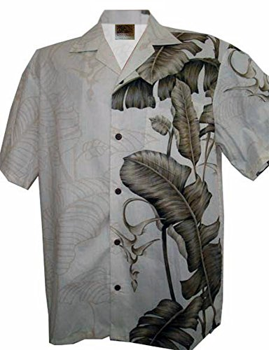 (WinnieFashion Hawaiian Banana Leaf in Paradise Aloha Shirtin Beige (L))