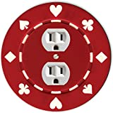 Rikki Knight RND-OUTLET-83 Poker Chip Round Single Outlet Plate, Red