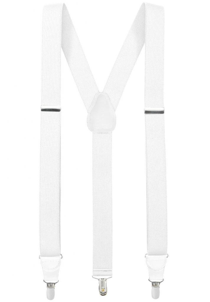 Hold'Em Suspender for Men Made in USA Y-Back Genuine Leather Crosspatch Clip on tuxedo suspenders - White (Tall - 54'') by Hold'Em (Image #1)