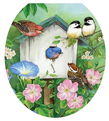 Toilet Tattoos, Toilet Seat Cover Decal,Blooming Birdhouse, Size Round/standard