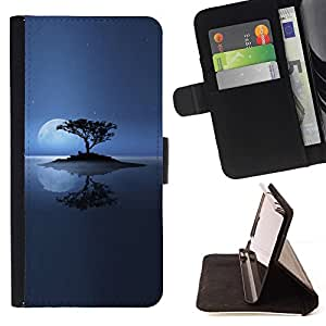 DEVIL CASE - FOR Samsung Galaxy S4 IV I9500 - Lonely Island Moon - Style PU Leather Case Wallet Flip Stand Flap Closure Cover