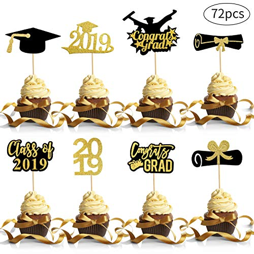 72 Pieces Class of 2019 Graduation Cupcake Toppers Diploma Graduation Cap Cupcake Toppers with Toothpicks and Dot Glues for 2019 Graduation Party Cake Decorations, 8 Styles ()