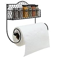 MyGift Rack Montado en la pared Rack de especias de cocina de metal negro y papel Toallero /Cesta de baño y Toallero