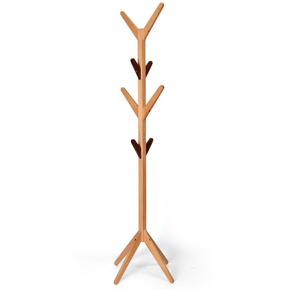 Amazon.com: Solid wood coat rack,Floor simple tree shape ...