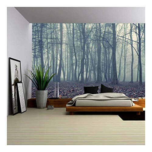wall26 - Foggy Evening in The Autumn Forest - Removable Wall Mural | Self-Adhesive Large Wallpaper - 100x144 inches