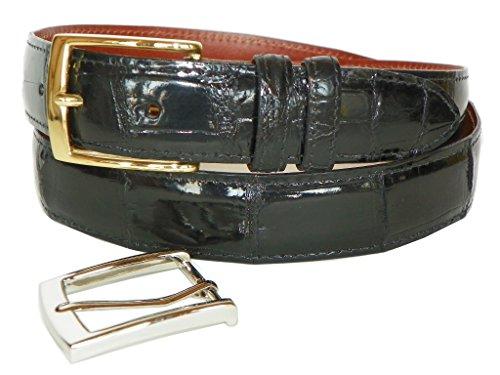 Charles Underwood Men's Genuine Alligator Belt with 2 Classic Buckles-Black-38 (Alligator Genuine Belt)