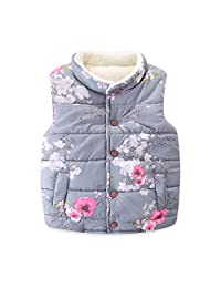 Mud Kingdom Girls' Floral Faux Fur Cute Vests Outerwear