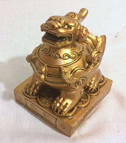 (New Antique Gold Winged Foo Dog Lion Dragon Statue Figure on Base 4