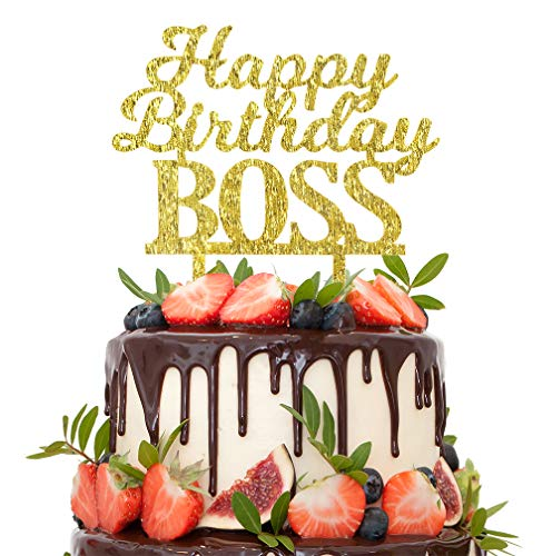 Happy Birthday BOSS Gold Glitter Cake Topper Funny Office Coworker Boss Employer Promotion Present Party Decoration.