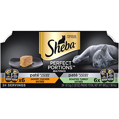 *SHEBA PERFECT PORTIONS Pate Multipack Savory Chicken Entree and Roasted Turkey Entree Grain Free Cat Food 2.6 Ounces (12 Twin Packs)