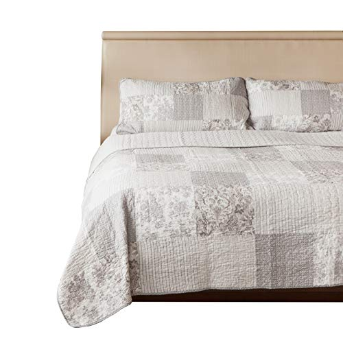 SLPR Silver Linings 3-Piece Real Patchwork Cotton Quilt Set (Queen) | with 2 Shams Pre-Washed Reversible Machine Washable Lightweight Bedspread Coverlet from SLPR