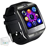 Bluetooth Smart Watch with Camera SIM Card Slot Pedometer Fitness Tracker Wristwatch Men Women Boys Smartwatch Compatible with Android Smart Phones Samsung Galaxy LG HTC Huawei Motorola Black