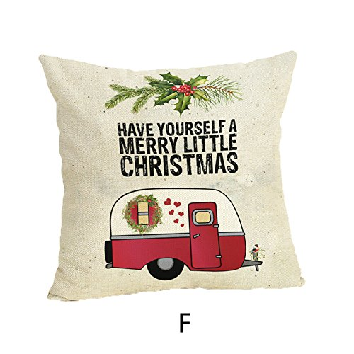 Holiday! iYBUIA Happy Christmas Pillow Cases Linen Sofa Cushion Cover Home Decor Pillow Case ()