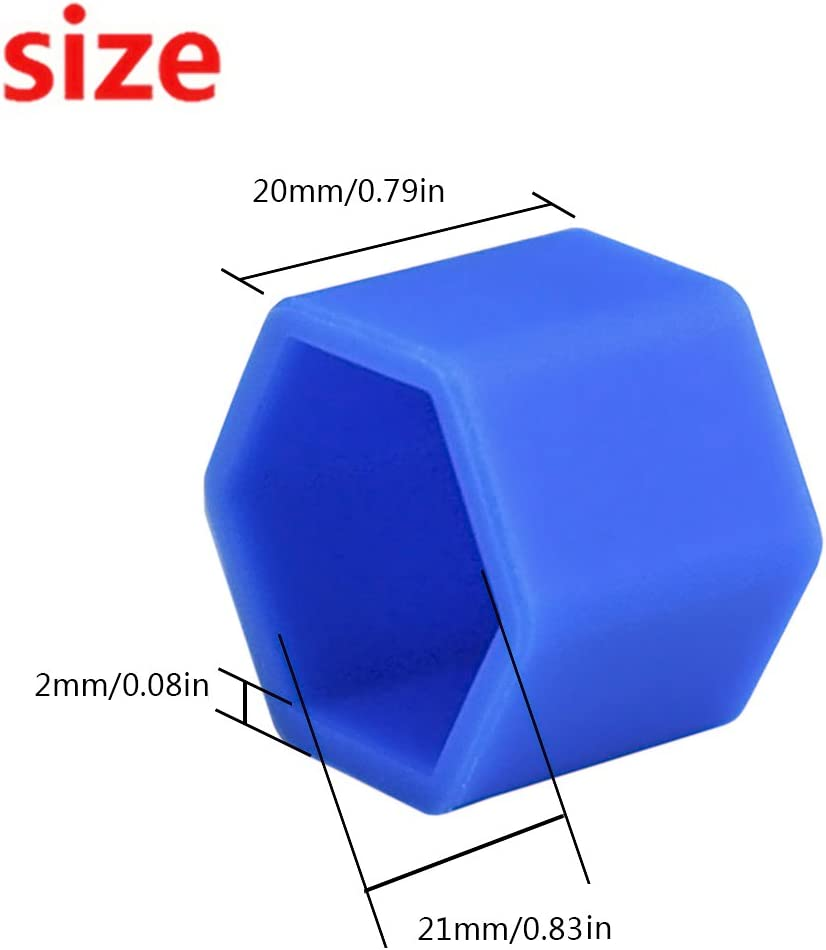 Andux Land Wheel Lug Nut Covers Silicone 20PCS LSBHT-01 Black, 17mm