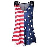 Tsmile Lightning Deals Women Tank Tops Plus Size American Flag Print Lace Insert V-Neck Shirt Blouse (Multicolor-2, 5XL)