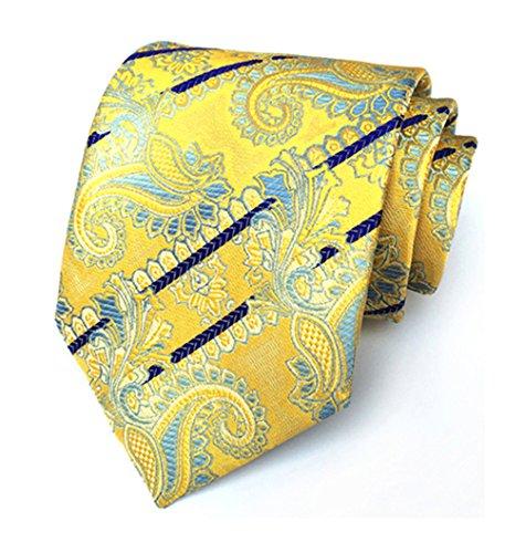 Silk Men's Tie Jacquard Party Yellow Classic Woven MENDENG Necktie Paisley 4AwdUX1Xn