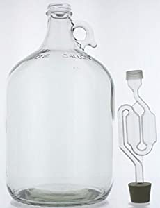 Home Brew Ohio 1 gal Glass Wine Fermenter, INCLUDES Rubber Stopper and Twin Bubble Airlock