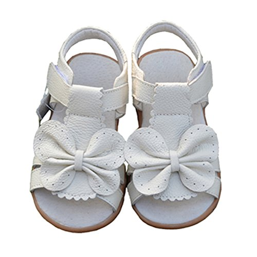 (Daved8Co Girls Shoes Children Sandals For Girls Genuine Leather Bowtie Princess Shoes Kids Beach Sandals Baby Toddler Shoes White)