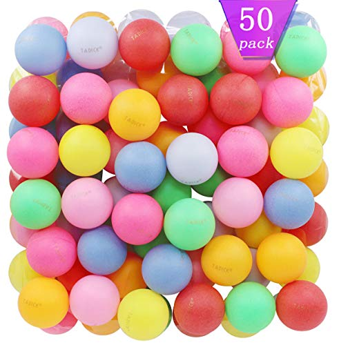 TADICK Beer Ping Pong Balls Assorted Color Plastic Ball (50 Pack)