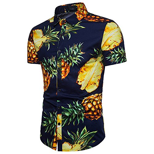 Hawaiian Party Shirts (WULFUL Men's Pineapple Shirt Short Sleeve Casual Hawaiian Shirt Party Dress Shirts Navy)