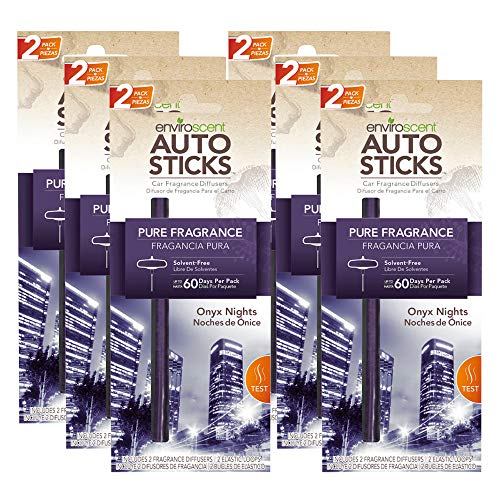 Enviroscents Auto Sticks Natural Car Air Fresheners, 6-Pack with 12 Sticks (Onyx Nights) ()