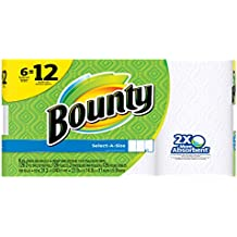 Bounty Select-a-Size Paper Towels, White, Double Roll, 6 Count