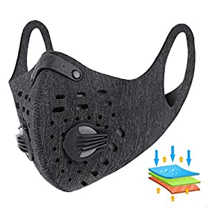 West Biking Dustproof Mask - Bicycle Anti-Dust Mask with Filter, Activated Carbon Breathable Windbreak Respirator | Foggy Haze Barrier Mask for Pollen Allergy/PM2.5/Running/Cycling/Outdoor Activities