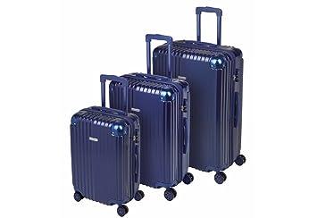 Juego de 3 maletas SULEMA R1214 fabricadas en ABS con cerradura TSA, ruedas dobles y esquinas reforzadas en aluminio. (Azul): Amazon.es: Equipaje