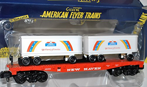 american-flyer-6-48295-new-haven-flat-car-w-howard-johnsons-trailers-netca-s