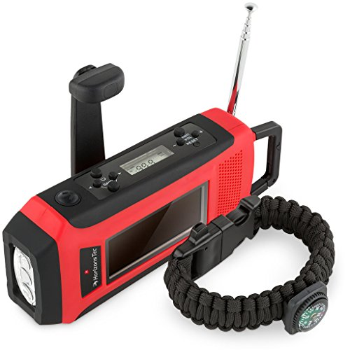 Horizons Tec HT-747 Emergency NOAA Weather Radio. Solar & Hand Crank Powered, Mobile Cell Phone Charger & Led Flashlight. Paracord Survival Kit Bracelet Magnesium Flint Fire Starter Compass Whistle (Radio Phone Charger Cell)