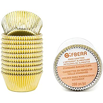 Gifbera Standard Gold Foil Cupcake Liners Wrappers Metallic Baking Cups, 200-Count