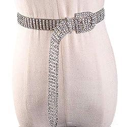Silver Plated Crystal Rhinestone Stretch Leather Belt