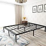 Zizin Queen Bed Frame Platform/14 Inch/Heavy Duty/Easy Assembly/Anti-Slip/Mattress Foundation/Steel Slats (Queen)