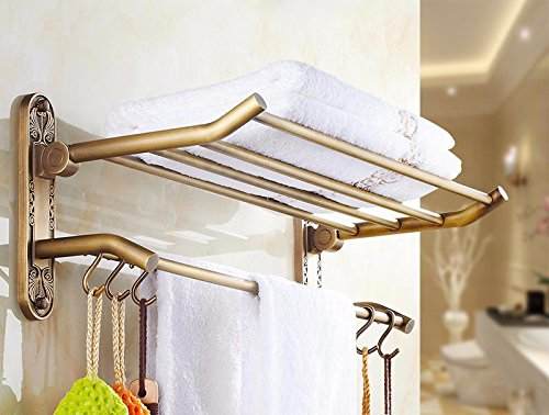 GGHYYO Bathroom Towel Holders Rack Shelf Retro Full Copper 60 cm