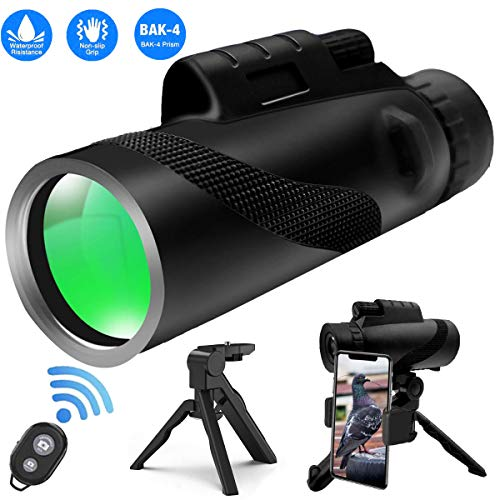 High Power Monocular Telescope 12x50, HD BAK4 Prism FMC Compact Monocular Waterproof with Smartphone Holder, Wireless Control & Tripod for Bird Watching Camping Hiking Travelling