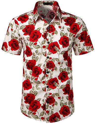 JOGAL Men's Cotton Button Down Short Sleeve Hawaiian Shirt Medium WhiteRose